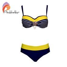 Andzhelika Sexy Gestreiften Bandeau Plus Größe Bikini Frauen Badeanzug Metall dekoration Bikinis Set Bademode Brasilianische Badeanzüge