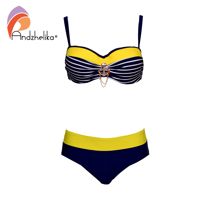 Andzhelika Sexy Striped Bandeau Plus Size Bikini Women Swimsuit Metal Decoration Bikinis Set Swimwear Brazilian Bathing Suits