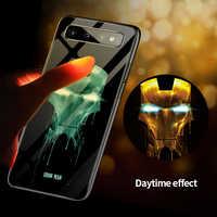Marvel Железный человек Бэтмен Веном световой Стекло чехол для телефона для samsung Galaxy S7 S8 S9 S10 e Edge Plus Note 9 8 Мстители чехол Funda