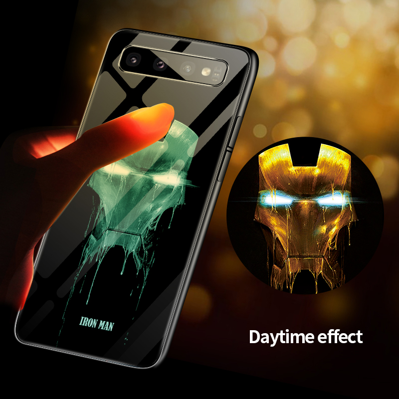 Marvel Iron Man Batman Venom Luminous Glass Phone Case For Samsung Galaxy S8 S9 S10 e 5G Plus Note 10 9 8 Avengers Cover Funda marvel glass iphone case
