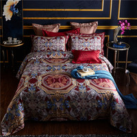 2018 Bohemia style Bedding Set red Color Egyptian cotton Duvet Cover Sheet Bed Cover Queen King Size Beddines For adults