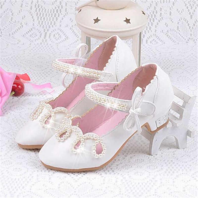 Yeni Çocuk Yüksek topuklu Dans Ayakkabıları Prenses Parti Moda deri ayakkabı Kız Öğrenci Yay inci Çocuk Ayakkabı Bebek Yürüyor 02C