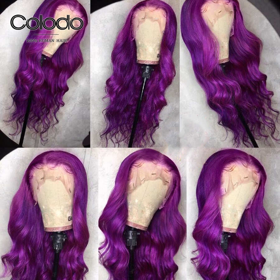 COLODO Purple Lace Front Wig Preplucked Brazilian Remy Hair Colored Human Hair Wigs Body Wave Lace