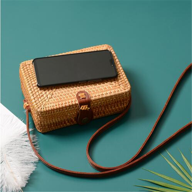 Fashion Women Summer Rattan Bags Round Square Straw Bag Handmade Woven Beach Crossbody Bags Circle Bohemia Bali Handbags 4