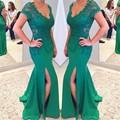 Sexy Side Slit Vestido de Noite 2017 Mulher Charming Bainha Verde Esmeralda V Neck Appliqued Pavimento Length Dresses Prom