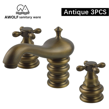 Bathroom Sink Faucet Antique Brushed 3PCS Solid Brass Basin Mixer Tap Dual Handle Three Hole Deck Mounted Faucet ML8008