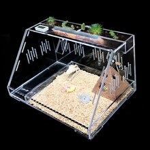 Panoramic Reptile Box Acrylic Pet Terrarium Creative Climbing Pet Box Drawer Type Climbing Box with Lock Buckle Hygrometer