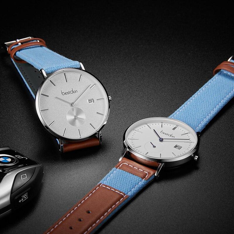 Bestdon Horloge Mannen Canvas Denim Ultra Dunne Geïmporteerde Quartz Klokken Retro Sport Horloges Top Brand Fashion Waterdichte Man Hot - 5