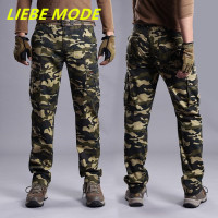 Fashion Overalls Men Military Camo Cargo Pants With Side Pockets Camouflage Weatpants For Men Army Green