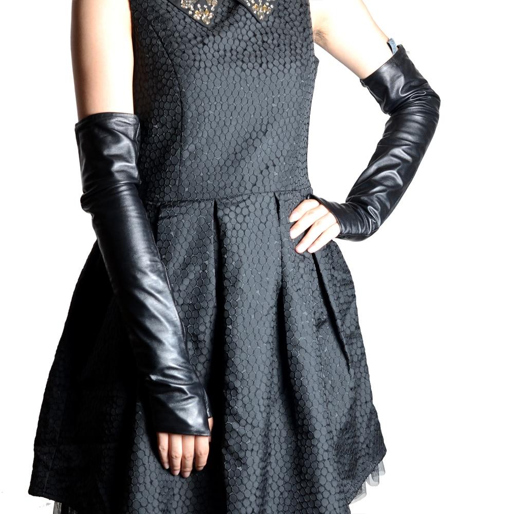 Women's La'die's Real leather Black Elbow Half-Finger gloves Fingerless semi-finger Party Evening long gloves