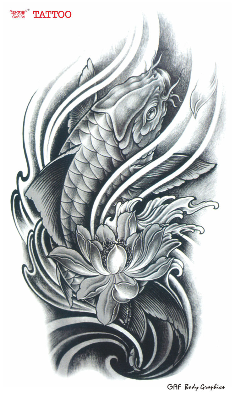 Large temporary tattoo stickers waterproof women men high quality large temporary tattoo stickers waterproof women men high quality koi carp lotus flower designs fake arm tattoos sexy products in temporary tattoos from izmirmasajfo Choice Image