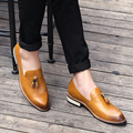 The trend of men's casual leather fringed Bullock set foot pointed hair stylist leather shoes retro personality