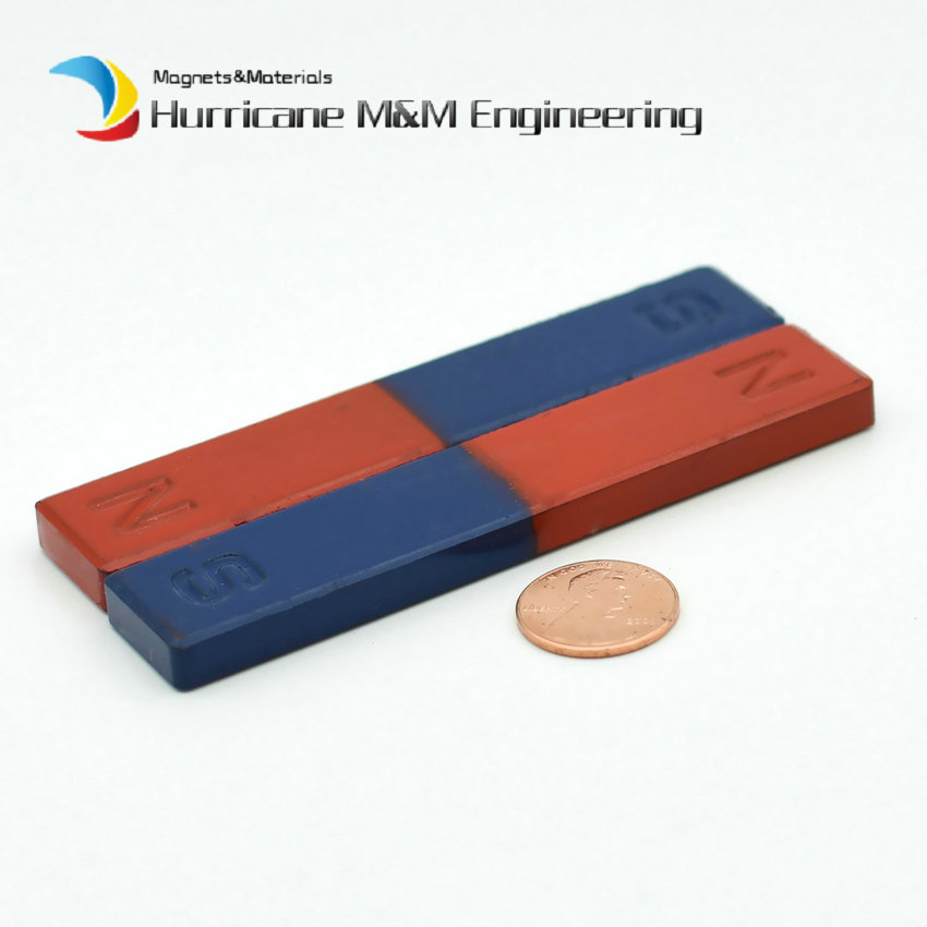 2pcs Magnetic Teaching Tool Magnet Bar type magnet 100x20x8 mm blue red / Toy magnet / office magnet 80 meter plastic soft magnet for advertising teaching frige magnet width 15xthickness 6 mm for notice board toy magnet
