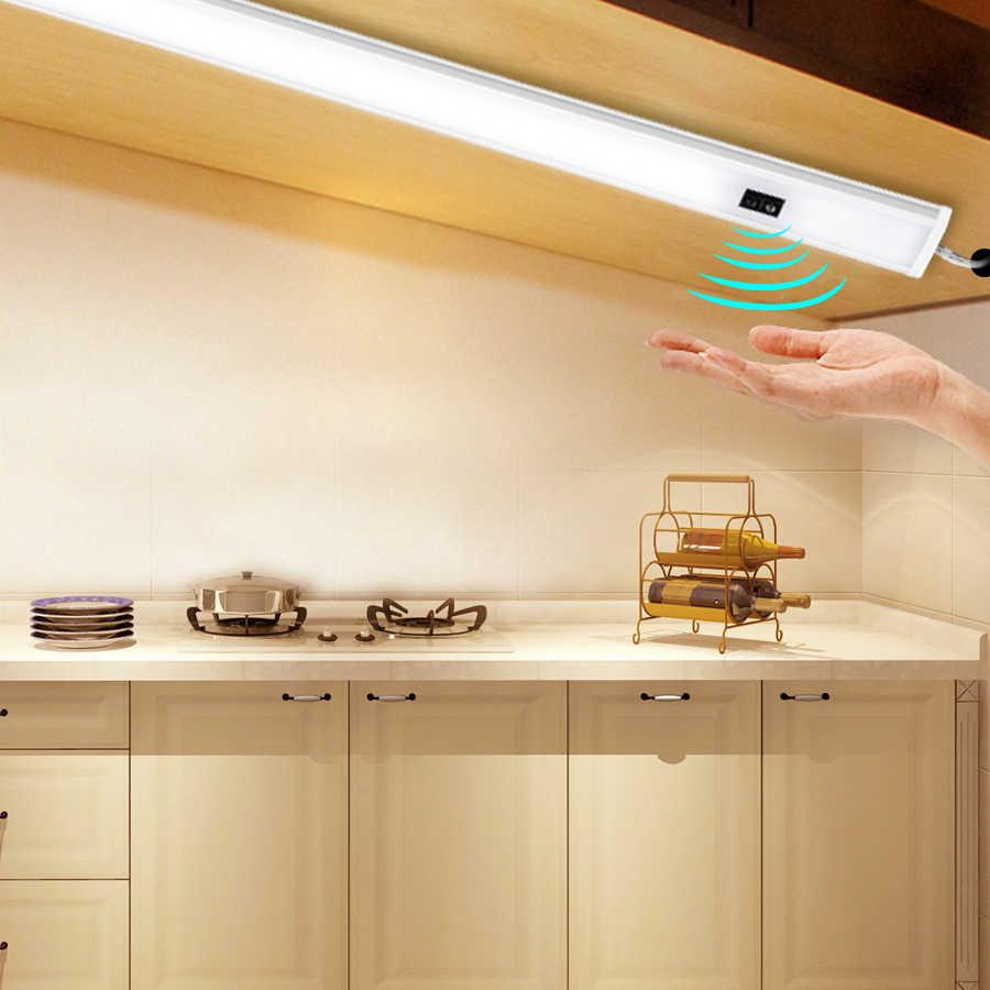Светодиодный светильник под шкаф с датчиком развертки рук 30 40 50 см DC 12 В Высокий люмен диодный светодиодный ночник для кухни спальни шкафа