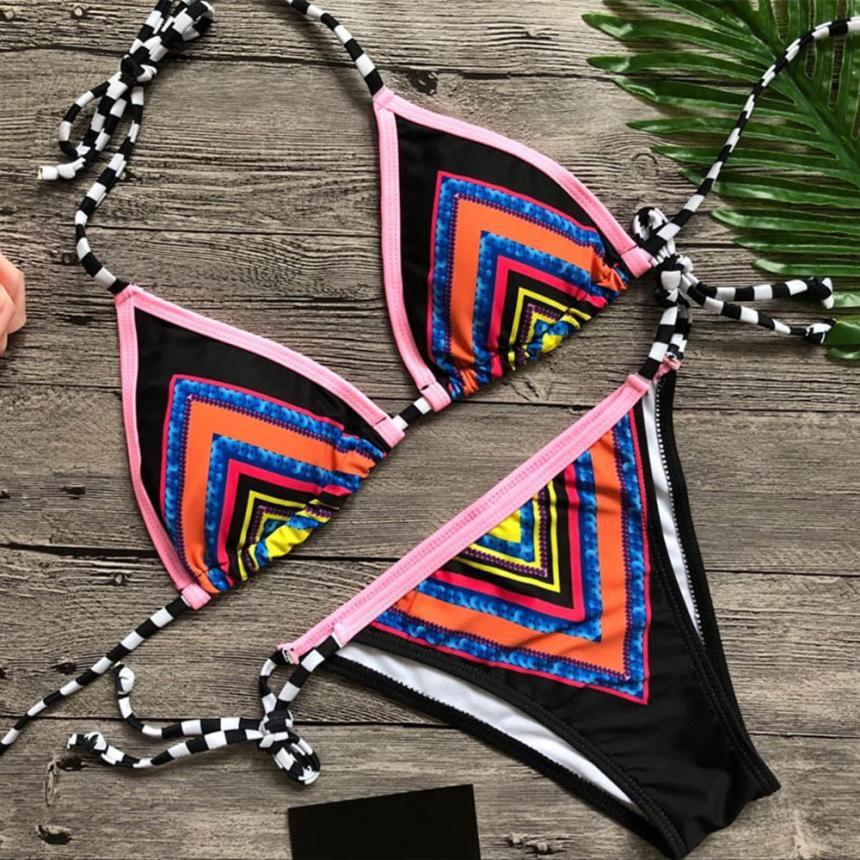 Sexy Print Bikini Set Sexy Push-Up Padded Bikini Halter Sling Folk-custom Swimwear 2019 Swimsuit Bathing Beachwear Biquini#sw