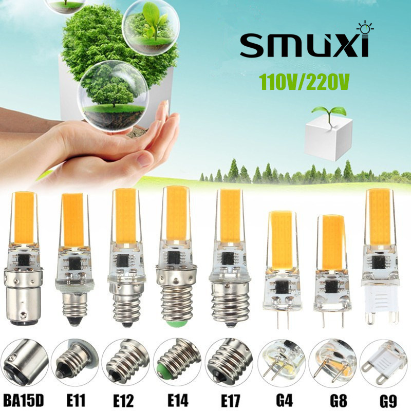 Smuxi 2.5W Dimmable COB LED Light Bulb E12 E11 E17 G8 BA15D E14 G4 G9 Lamp Spotlight Bulb Chandelier Lighting AC110/220V