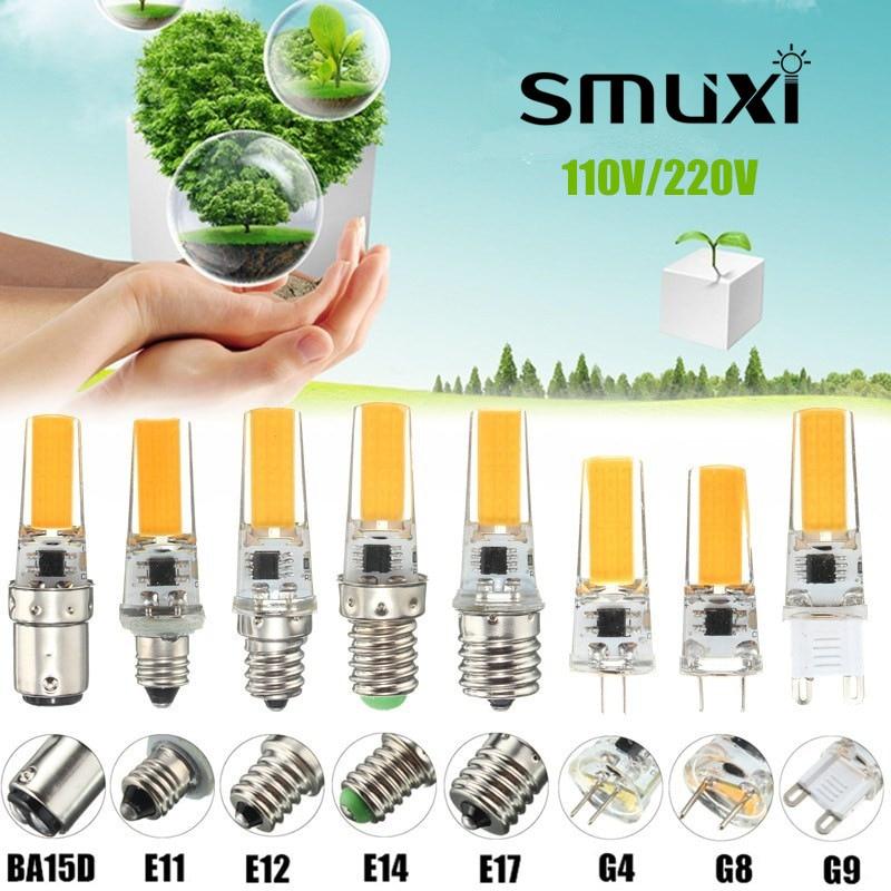 Smuxi 2.5W Dimmable COB LED Light Bulb E12 E11 E17 G8 BA15D E14 G4 G9 Lamp Spotlight Bulb Chandelier Lighting AC110/220V