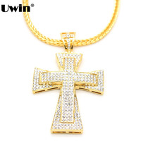 3 Row Iced Out Rhinestone Cross Pendant Necklace Exaggerated Big Hip Hop Pendants Charm 30 Fox