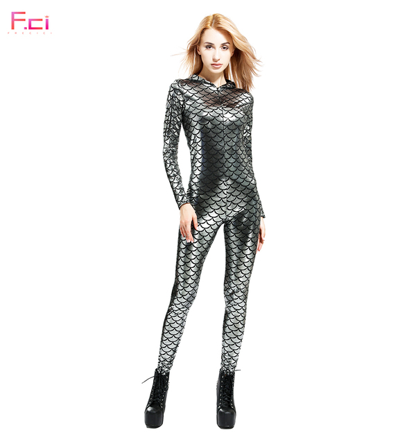 FRECICI Women Mermaid Scale Long Sleeve Jumpsuit Rompers Hooded Jumpsuit Plus Size Fish Scale One Piece Jumpsuit Front Zipper