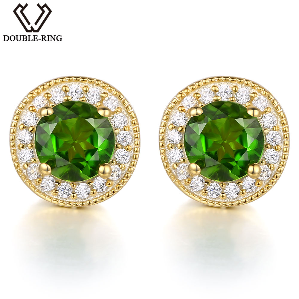 DOUBLE-R Natural Diopside 0.91ct Round Green Stud Earrings Women 925 Sterling Silver Earrings Gemstone Jewelry Gift For Female wholesale new fashion trendy 925 sterling silver zircon natural gemstone crystal green diopside pendant drop earrings for women