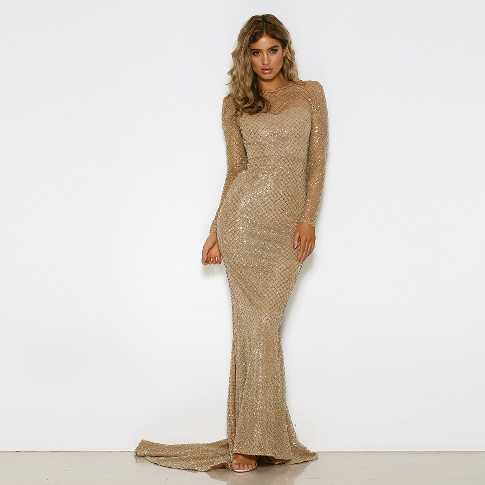 Full Sleeved Mermaid Dresses Gold Glittered Maxi Dress Hollow Out Backless Glitters Floor Length Evening Party