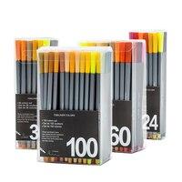 24/36/60/100 Colores Aguja Gel Ink Pen 0.4mm Colores de Corea Papelería Escritura Gel plumas para Niños Regalos