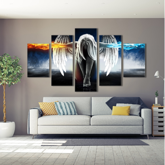 Canvas Printed 5 Panel Angel Fire Ice Painting Game Poster Wall Art Pictures Home