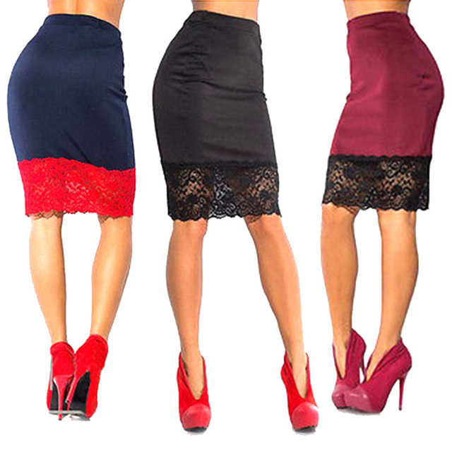 d1512957f9c2 Pencil Skirt for Women Casual Women Formal Stretch High Waist Short Lace  Knee-Length Pencil Skirt Black Skirt Clearance items