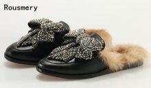 2017 горячие новые женские модные черные Цвет princetown драгоценностями кожа синтетическая Меха Loafer лук галстук Горки Сандалии