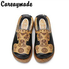 Careaymade-Folk style Head layer cowhide pure handmade Carved shoes, the retro art mori girl shoes,Womens casual Sandals 8979