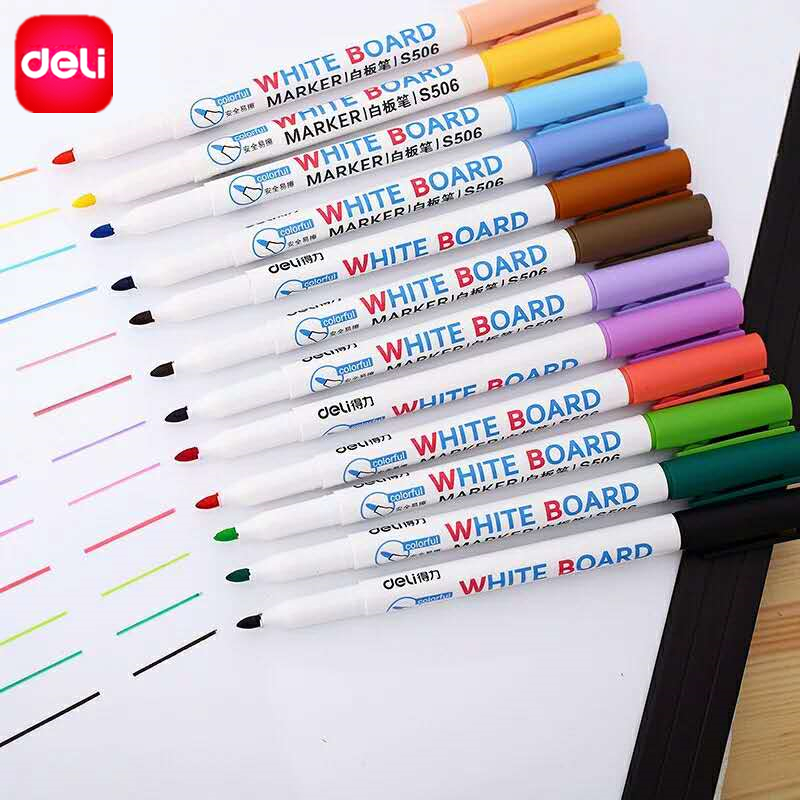 Deli Erasable Whiteboard Marker Pens 12 pcs Assorted Colors Value Set office Dry Erase Markers Office Supplies for Glass Windows ...