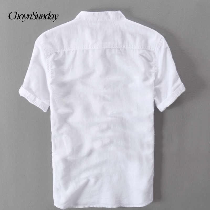 男性シャツファッション夏半袖スリムリネンシャツ男性ホワイトカラーカジュアルシャツプラスサイズトップスシャツ男性ストリート C