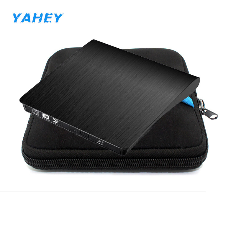 USB3.0 Blu-ray Player External Optical Drive Bluray BD-ROM DVD RW Burner Writer for Macbook Laptop Computer+Drive case pouch bag