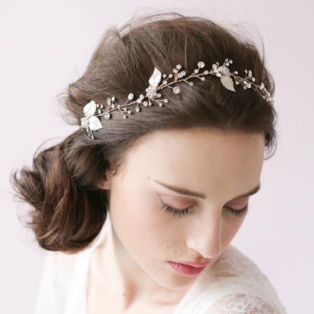 handmade 2018 fashion crystal flowers blade bridal hair accessories wedding dress white head bands for woman