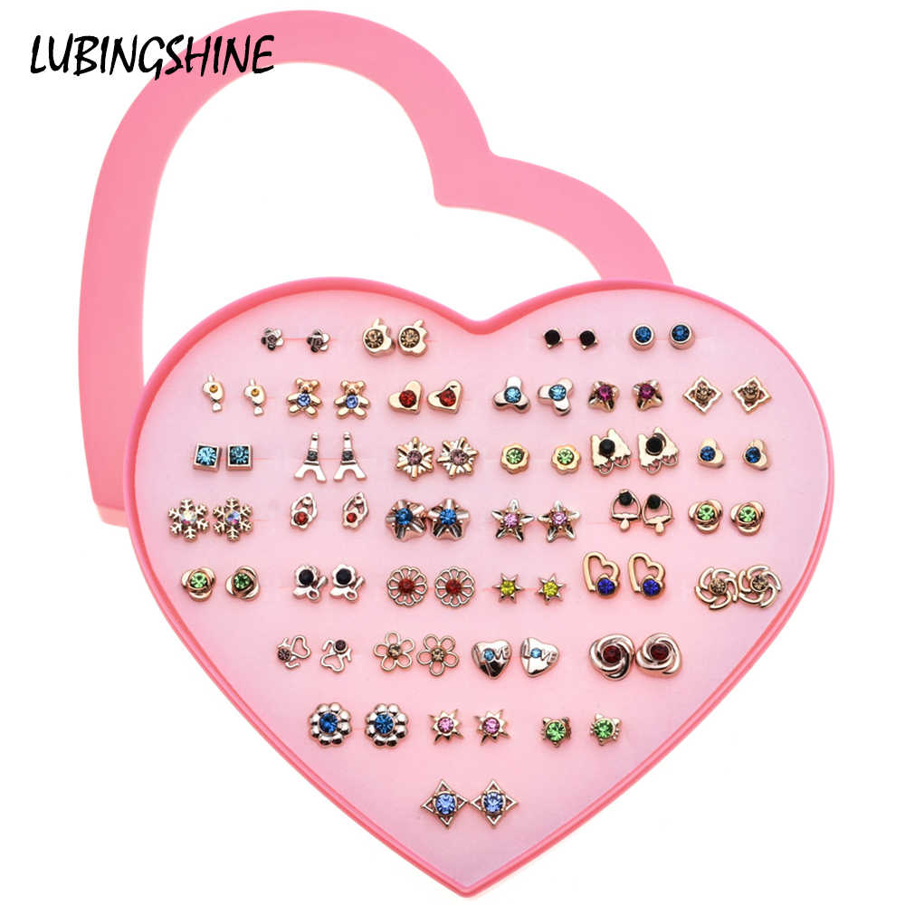 LUBINGSHINE 36 Pairs/Sets Multiple Style Mini Stud Earrings Set Women Rhinestone Metal Lock Girls Earrings Heart Boxed Jewelry