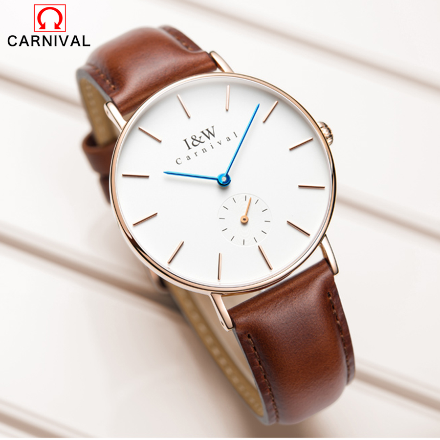 купить CARNIVAL Brand Men Watch Fashion Casual Sport Watches Men Waterproof Leather Quartz Watch 2017 Man Clock Relogio Masculino по цене 4211.09 рублей