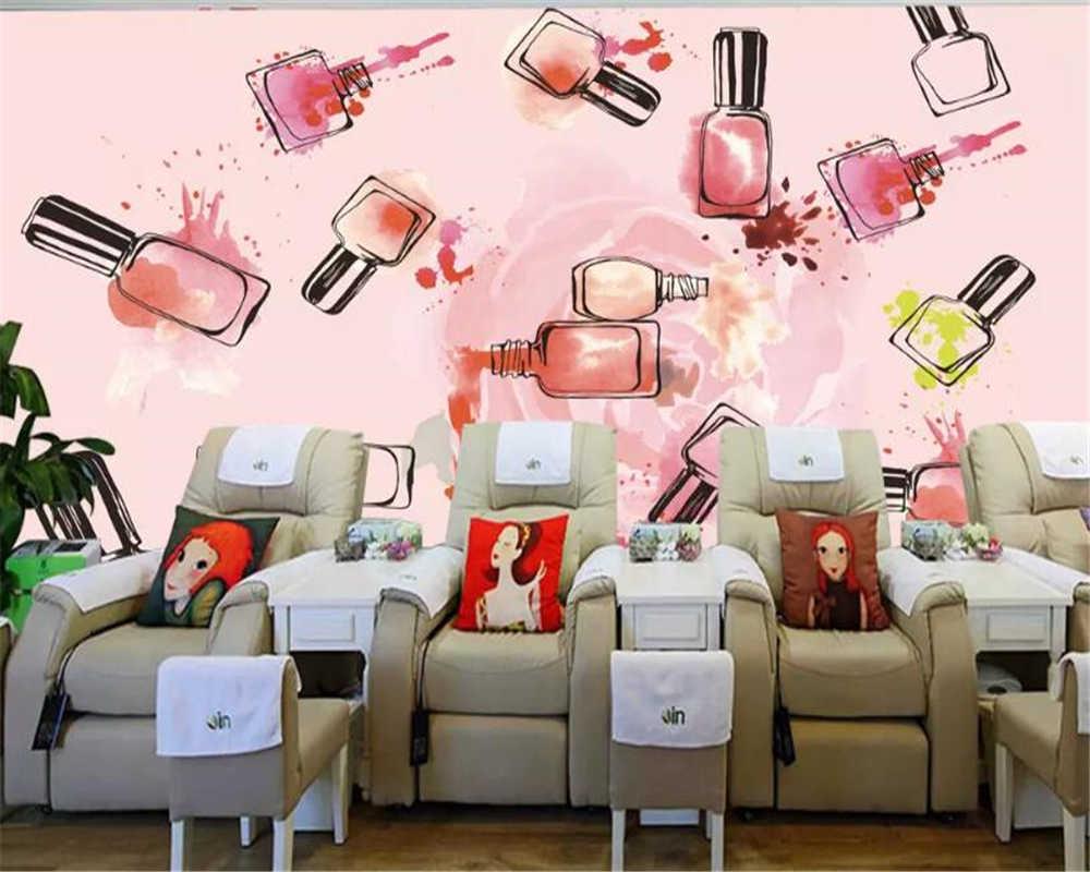 Обои для стен из винила, роспись стен, украшения для ногтевого магазина, Большая фреска, плакат, 3d обои, papier peint, 3d