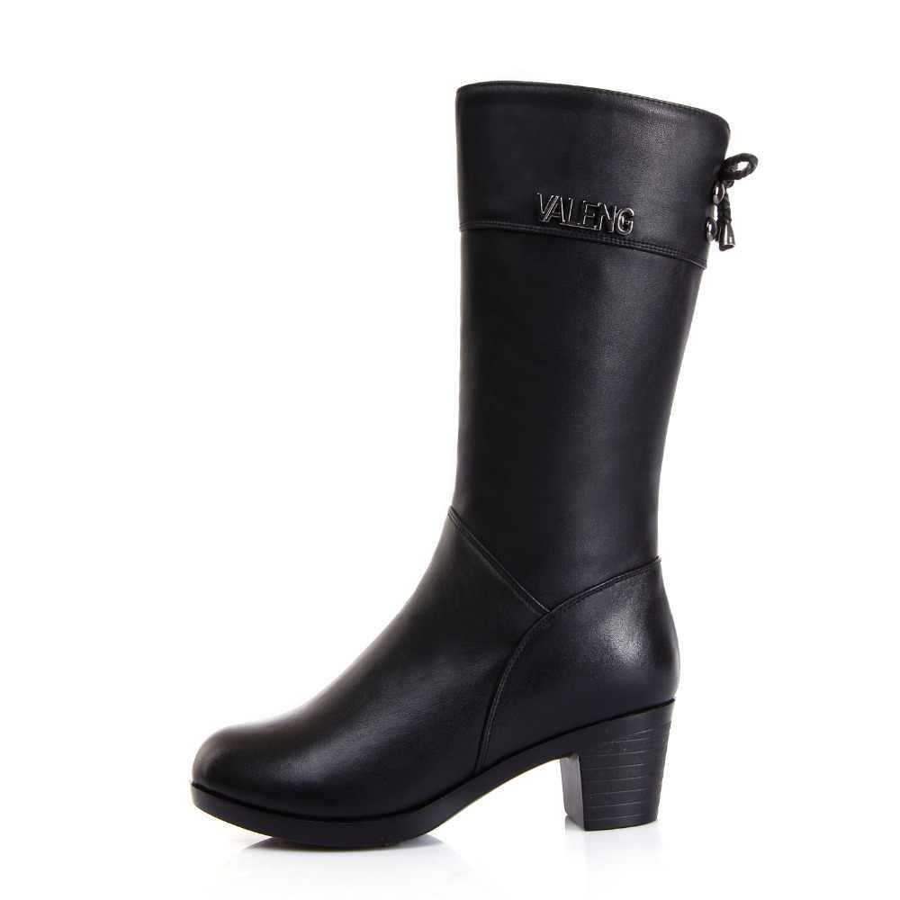 Kışlık Botlar Yün Kürk sıcak ayakkabı Kadınlar Yüksek Topuklu Hakiki deri ayakkabı El Yapımı Kar Botları Ayakkabı Botas