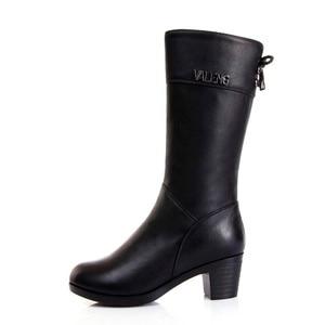 Image 3 - Winter Boots Wool Fur Inside Warm Shoes Women High Heels Genuine Leather Shoes Handmade Snow Boots Footwear Botas