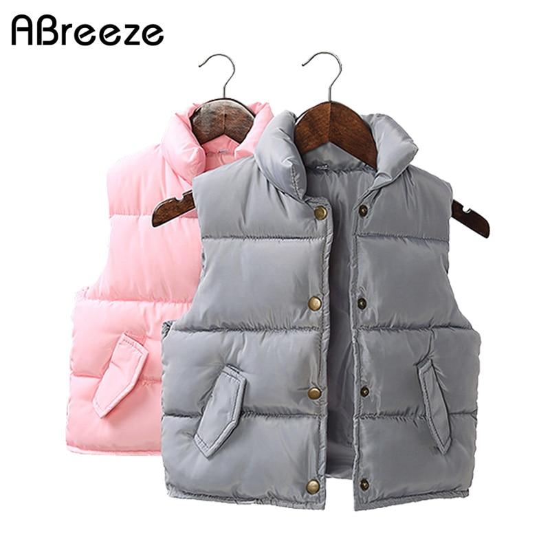 Abreeze 2017 Efterår vinter baby vestfrakker Nye 1-7T solide veste - Børnetøj