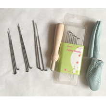 WFPFBEC wolvilt wool for needle felting wool roving fiber tools kit handle FELTING NEEDLE with 16 needles crafa naaldvilten