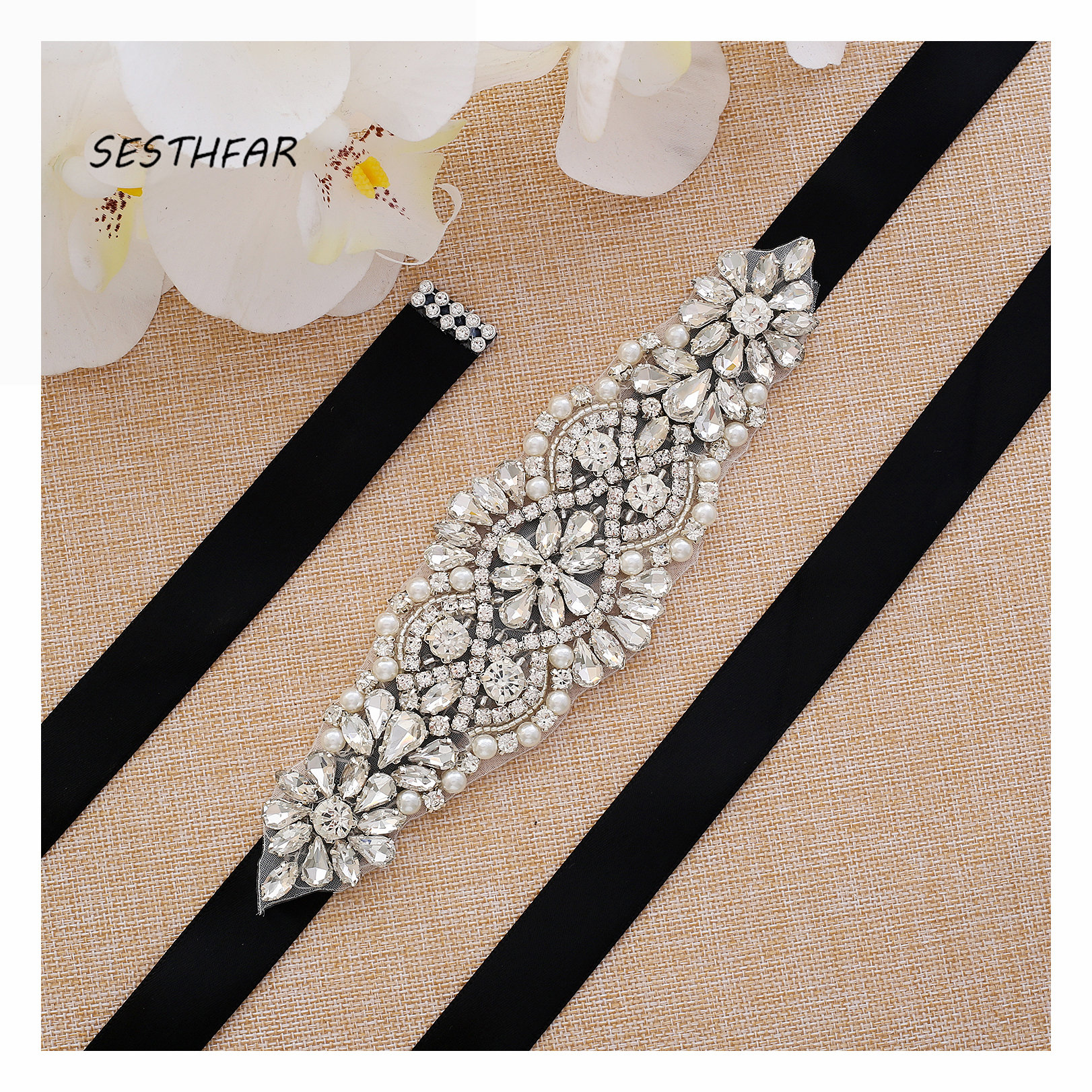 Crystal bridal belt Silver Wedding Belt With Rhinestones Bridal Sash For Wedding Party Dress Handmade J103S(China)