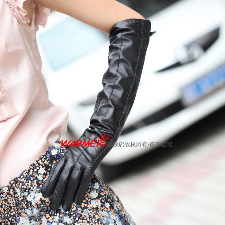 Nouveau gants en cuir de haute qualité pour femme Long gant noir 1 paire/lot