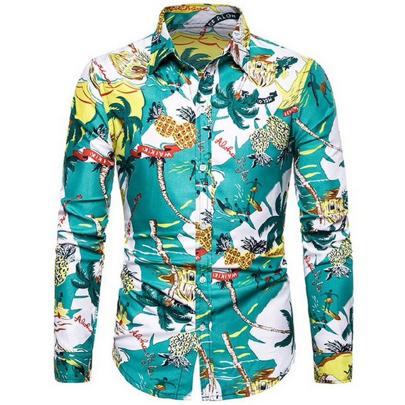 2019 Summer Men's Hawaiian Shirt Casual Printed Long Sleeve Tops Hawaiian Holiday Style Shirts Plus Size M-3xl