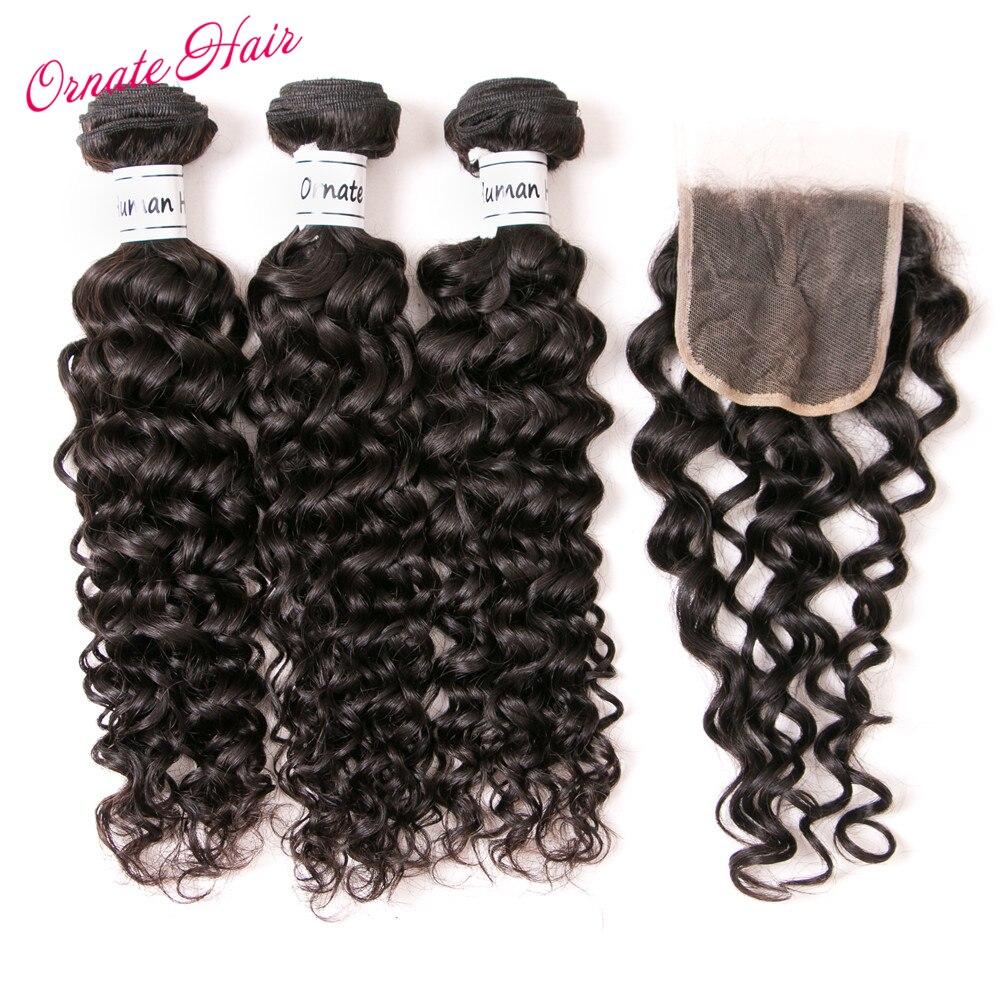 Ornate Water Wave Bundles With Closure 3 Bundle Deals Brazilian Hair Weave Bundles Non Remy Hair Lace Closure Middle Part