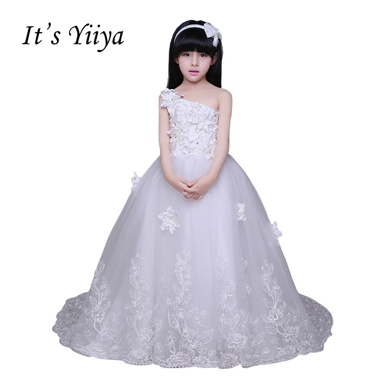 It's YiiYa One Shoulder White Chiffon Zipper Sleeveless Train Appliques   Flowers   Kids Princess   Flower     Girls     Dress   Communion TS206