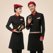 Top Apron Hotel Long Sleeve Female Restaurant Waiter Uniform Korean Male Fast Foods Service Waitress Work