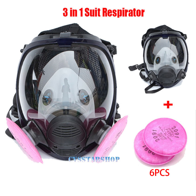 7 in 1 Suit Industry Painting Spraying Respirator Same For 6800 Gas Mask Full Face Facepiece Respirator sjl painting spraying respirator gas mask same for 3 m 6800 gas mask full face facepiece laboratories dust mask respirator