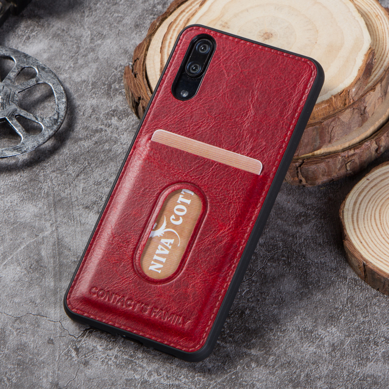 For Huawei P20 Case Cover Genuine Leather Back Cover Silicone Edge Protect Case Coque For Huawei P20 With Pocket Free Engraving in Wallet Cases from Cellphones Telecommunications