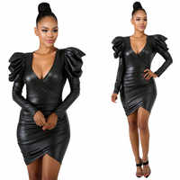 Women Dress PU Faux Leather Long Sleeve Metallic V-Neck High Elastic Slim Fit Short Mini Sexy Black Dress Solid Dress